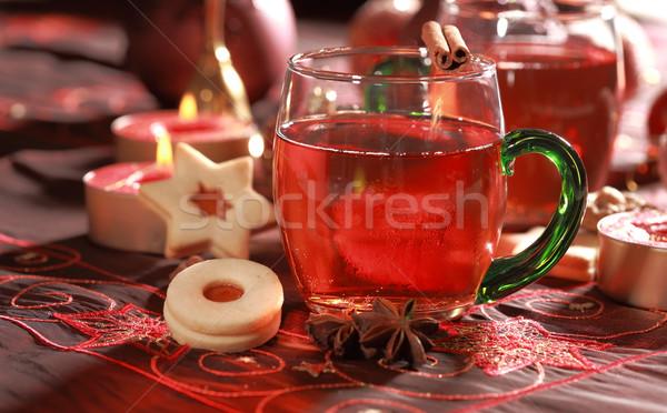 Bebida caliente Navidad delicioso cookies vela té Foto stock © brebca