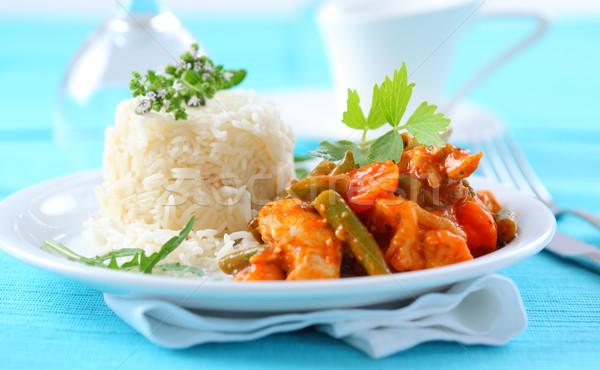 Stock fotó: Piros · csirkés · curry · csíkok · rizs · zöldség · étel