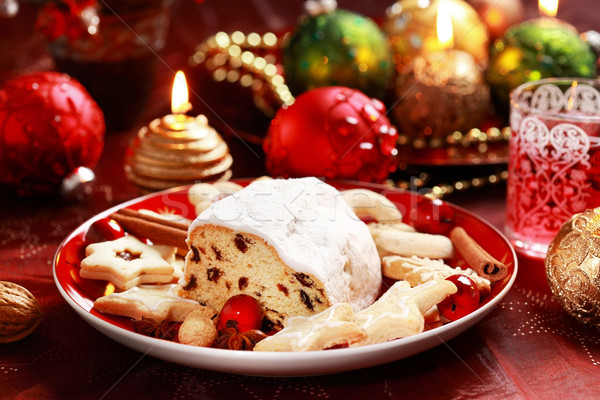 Christmas stollen with gingerbread Stock photo © brebca