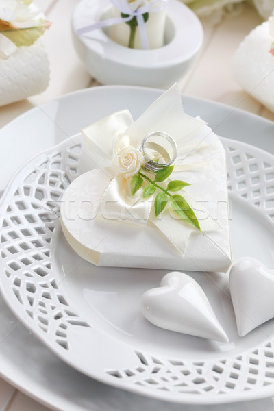 Luxury place setting in white Stock photo © brebca