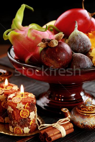 натюрморт экзотический плодов Мангостин инжир дракон Сток-фото © brebca