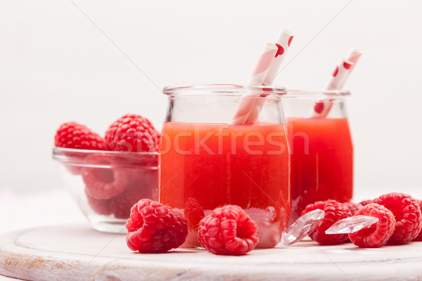 Framboise smoothie fraîches fruits alimentaire fruits Photo stock © brebca