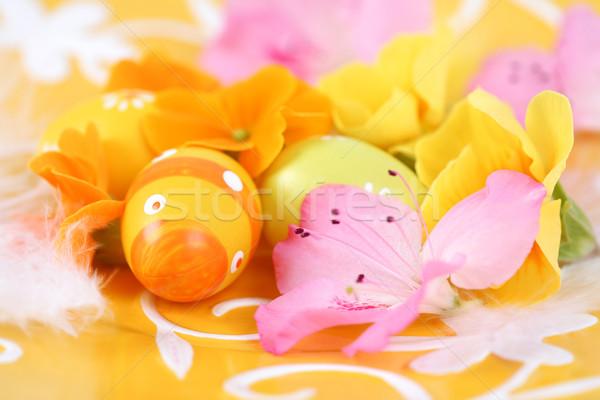 Húsvét részlet húsvéti tojások tavasz tojás narancs Stock fotó © brebca