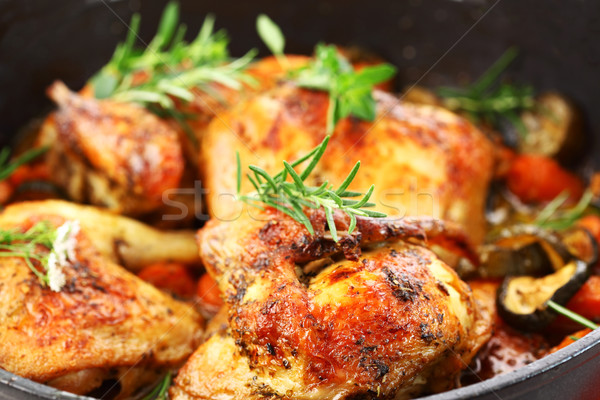Stock photo: Grilled chicken on vegetables