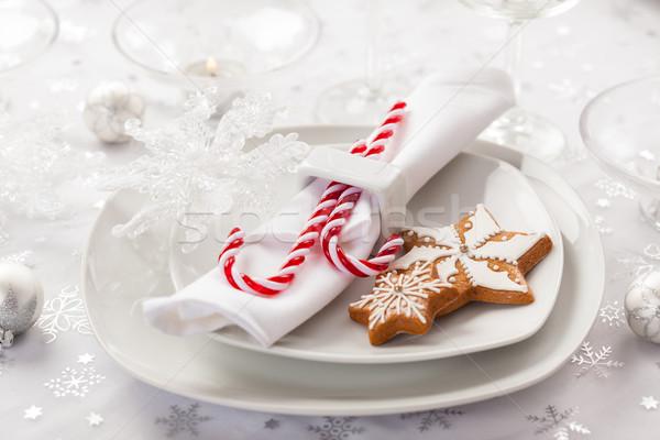 Stok fotoğraf: Yer · beyaz · Noel · zencefilli · çörek · kurabiye · şeker