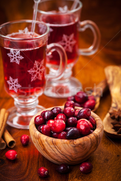 Cranberries with hot mulled wine Stock photo © brebca