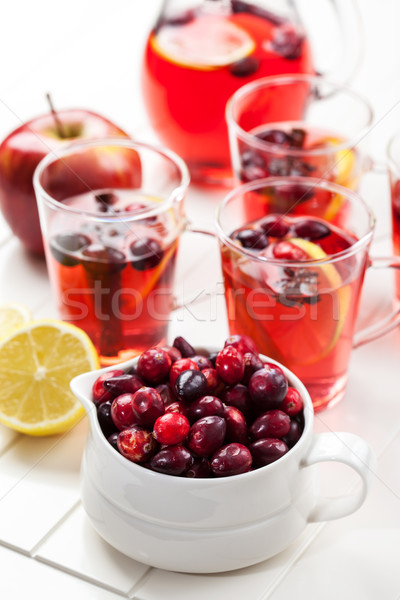 Cranberries with hot punch for winter and Christmas Stock photo © brebca