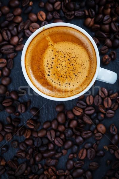 Espresso fincan kahve çekirdekleri üst görmek içmek Stok fotoğraf © brebca
