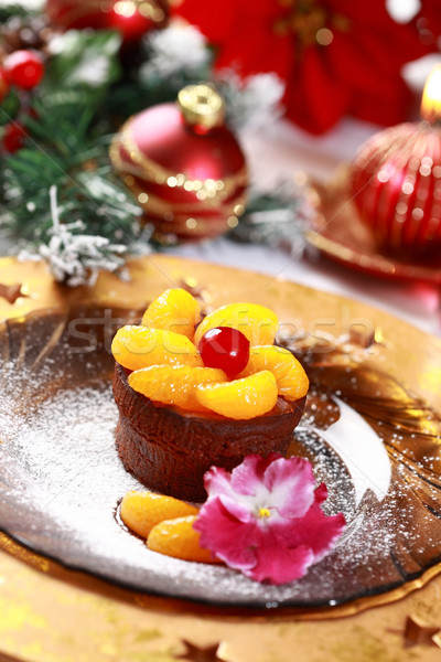 Stok fotoğraf: çikolata · fincan · kek · Noel · meyve · şarap