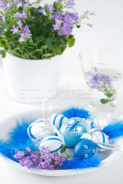 Boyalı paskalya yumurtası sepet Paskalya boya mavi Stok fotoğraf © brebca