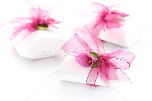 Küçük hediye kutusu dekore edilmiş şerit çiçek düğün Stok fotoğraf © brebca
