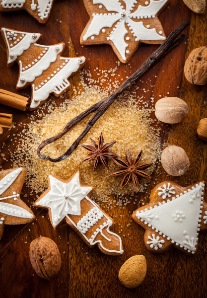 Stock photo: Gingerbread cookies with nuts and spices