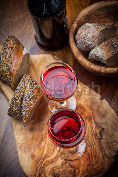Two glasses of red wine Stock photo © brebca