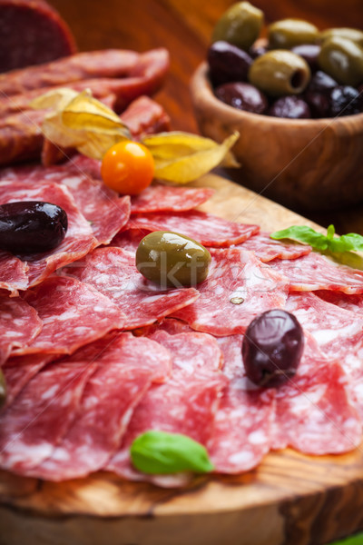 Italian salami with olives Stock photo © brebca