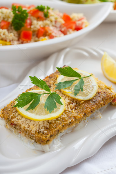 Baked fish fillet wih couscous salad Stock photo © brebca