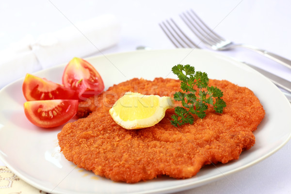 Wiener Schnitzel with lemon Stock photo © brebca