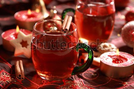 Gorący napój christmas cookie Świeca herbaty Zdjęcia stock © brebca
