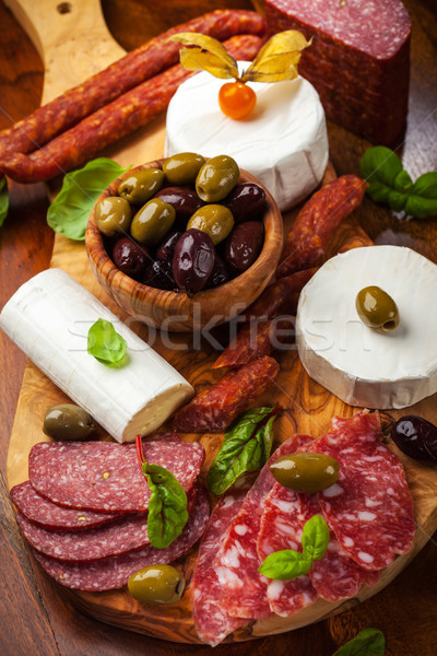 Appetizer catering platter with different meat and cheese products Stock photo © brebca