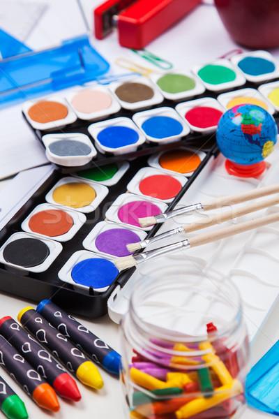 Fournitures scolaires livres école éducation bureau Photo stock © brebca