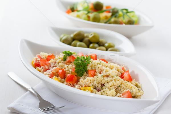 Couscous insalata pomodoro pepe olive cena Foto d'archivio © brebca