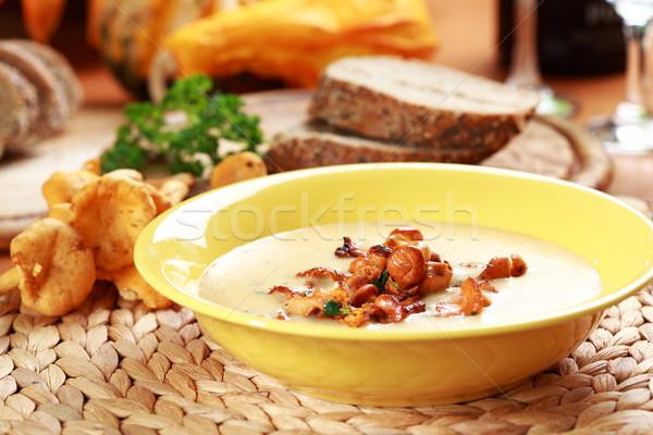 Cream of chanterelle mushroom soup Stock photo © brebca