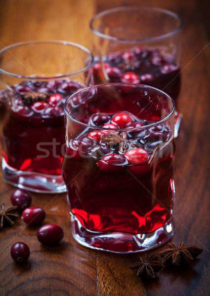 Forró ital áfonya karácsony fa asztal étel üveg Stock fotó © brebca