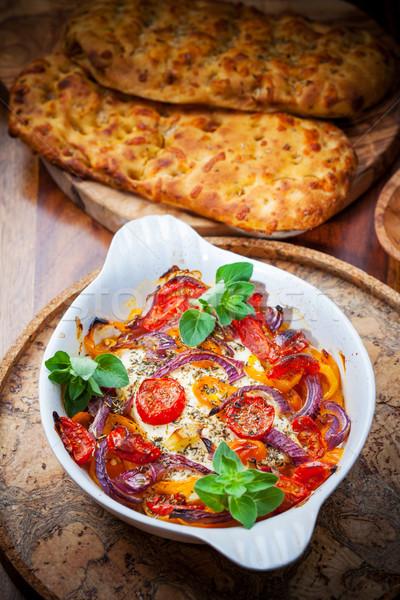 フェタチーズ 野菜 オリーブ パン トマト ストックフォト © brebca