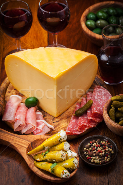 Antipasto catering platter with cheese loaf Stock photo © brebca