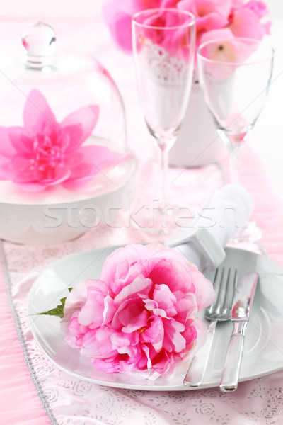 Place setting in pink Stock photo © brebca