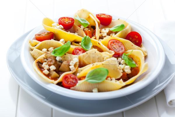 Tészta zöldség pörkölt mozzarella bazsalikom étel Stock fotó © brebca