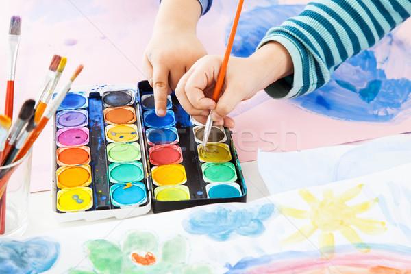 Részlet kéz festmény vízfesték papír gyermek Stock fotó © brebca