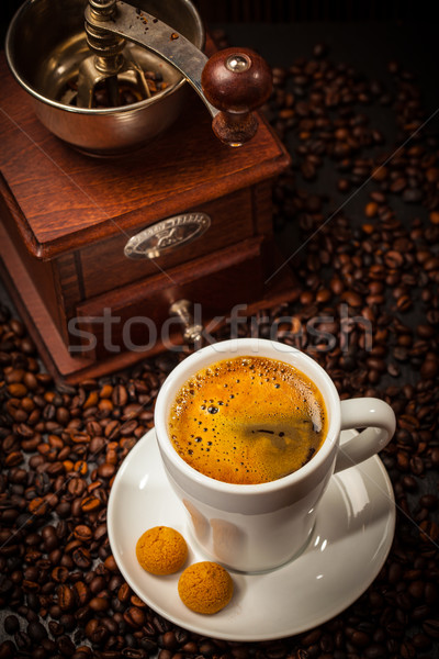 Espresso cup with coffee mill Stock photo © brebca
