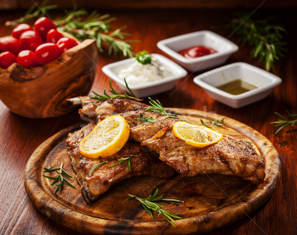 BBQ spare ribs with herbs Stock photo © brebca