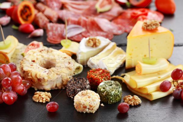 Foto stock: Catering · salame · queijo · prato · café · da · manhã · almoço