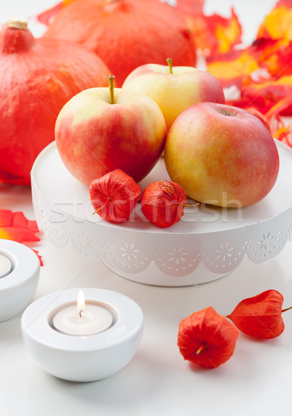 Stock photo: Apples and pumpkins