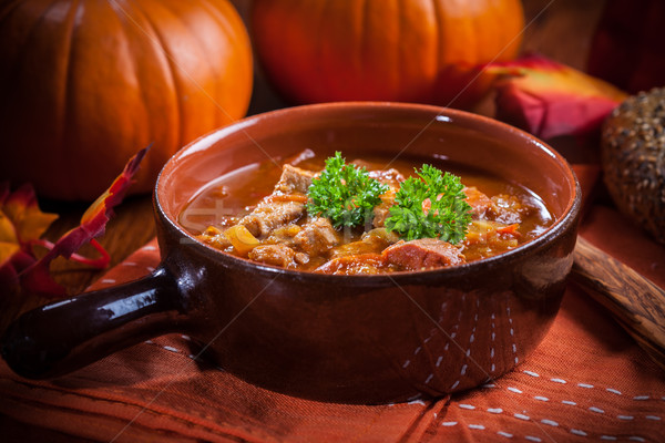 Gourmet hearty goulash soup  Stock photo © brebca
