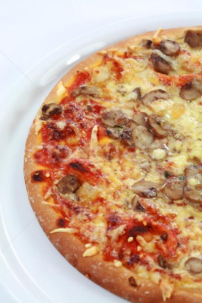 ペパロニ ピザ キノコ 白 プレート チーズ ストックフォト © brebca