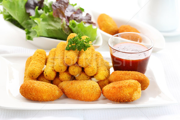 Frit fromages mozzarella piment poivre sauce tomate Photo stock © brebca