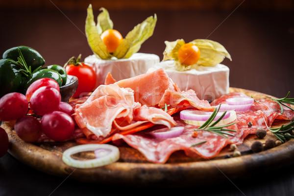 Akşam yemeği catering farklı gıda şarap Stok fotoğraf © brebca