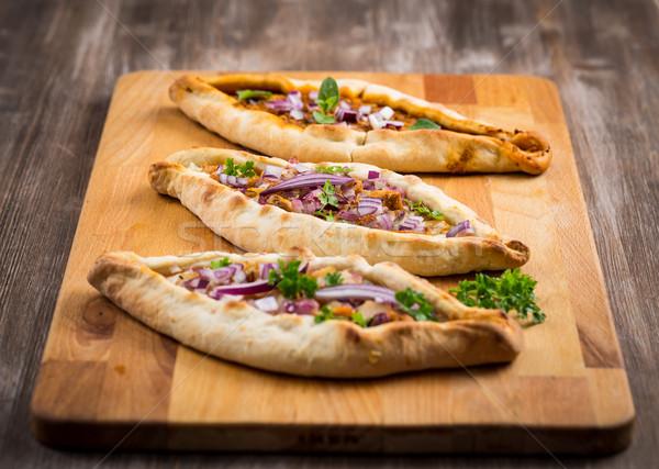 Pita pão frango legumes tabela trigo Foto stock © brebca