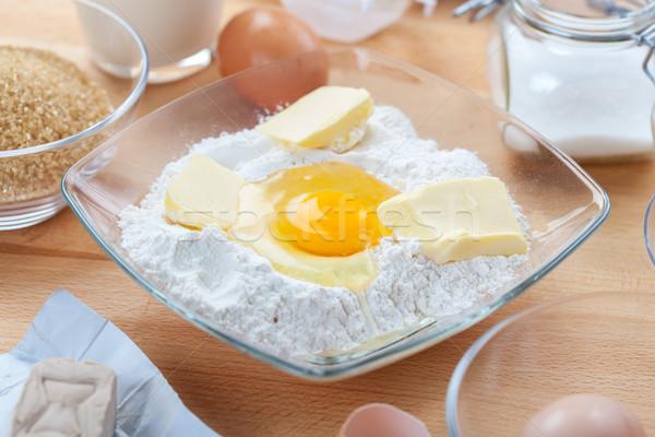 Stock fotó: Hozzávalók · készít · torta · sütik · étel · tojás