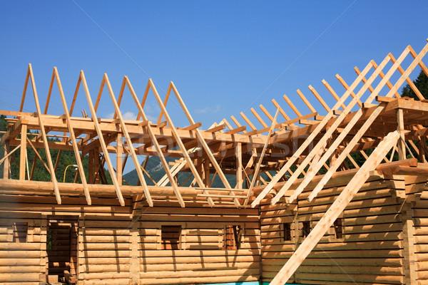 Bouw nieuwe huis hout home Stockfoto © brebca