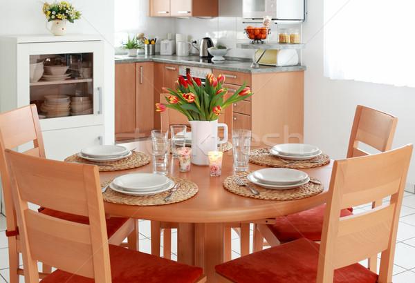 Foto stock: Cozinha · sala · de · jantar · interior · família · casa · projeto
