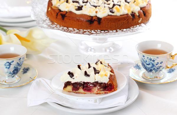 Cerise crème délicieux tasse thé Photo stock © brebca