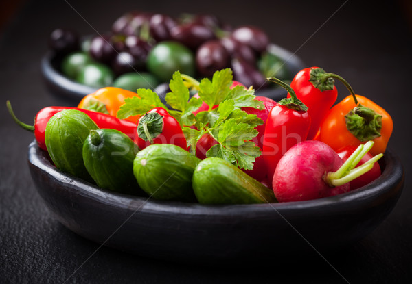 Raw snack vegetable with olives Stock photo © brebca