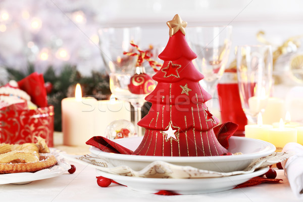 Table setting for Christmas Stock photo © brebca