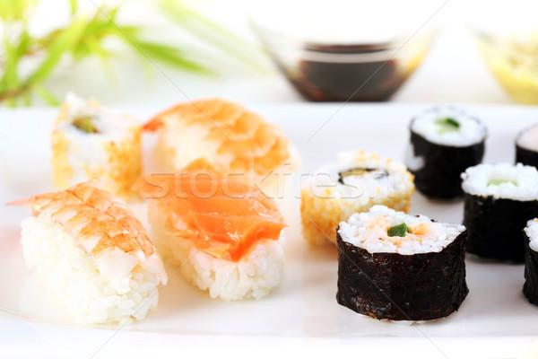 Sushi Japon gıda atış balık restoran Stok fotoğraf © brebca