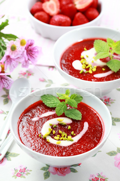 Cold strawberry soup Stock photo © brebca