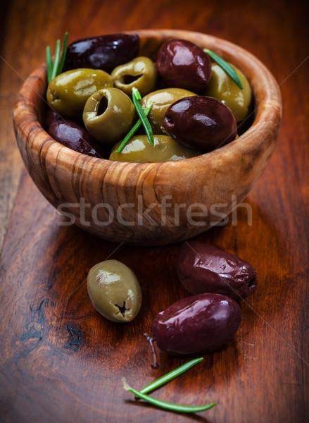 Foto stock: Delicioso · verde · azeitonas · pretas · tigela · comida · salada