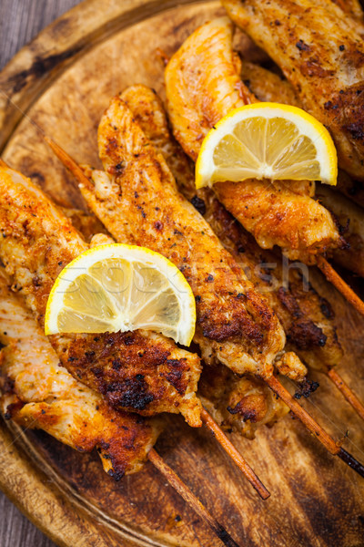 Grilled chicken skewers Stock photo © brebca